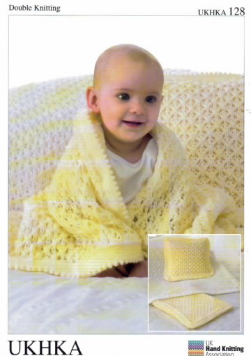 DK Baby Knitting Pattern - Cot Blanket, Pram Blanket & Cushion UKHKA 128